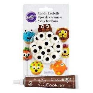 Stylo chocolat + Décors sucrés Yeux...