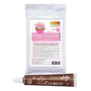 Pasta de azúcar rosa sabor vainilla +...