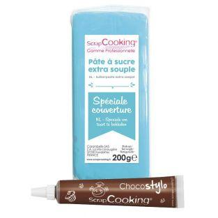 Easy-to-roll sugar paste 200 g blue +...