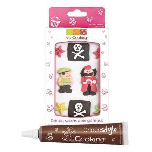 Süße Dekorationen für Kuchen Pirat +...