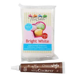 Pâte à sucre blanche 250 g + Stylo...