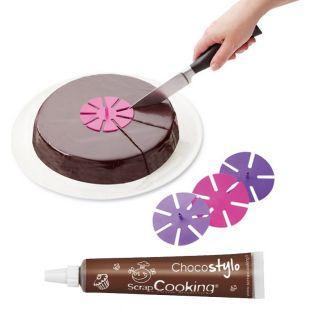 Marque-parts de gâteaux + Stylo chocolat