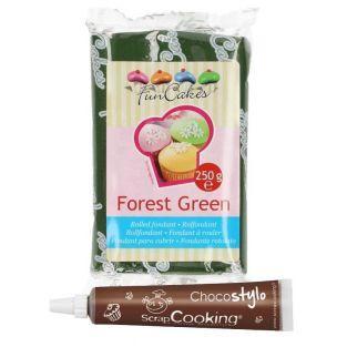 Pâte à sucre 250 g Vert sapin + Stylo...