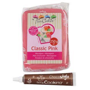 Marzipan Classic Pink 250 g + Edible...