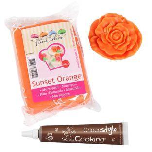 Marzipan Sunset Orange 250 g + Edible...