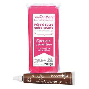 Fondant 200 g - Fuchsia + Schokolade...
