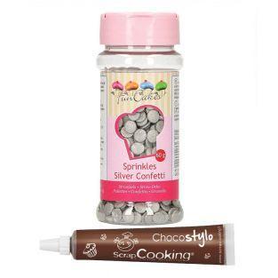 Zuckerdekor Konfetti 60 g - Silber +...