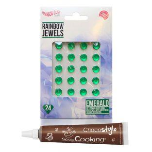 24 diamants comestibles verts + Stylo...