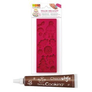 Moule pâte à sucre Noël + Stylo chocolat