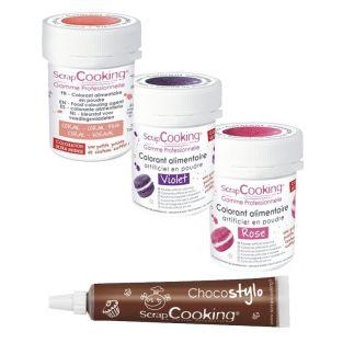 Food coloring kit pink-purple-coral +...