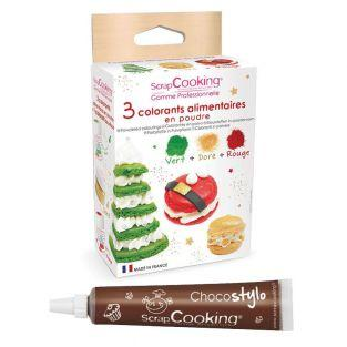 3 powder food colourings green, red &...