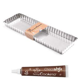Rectangular tin tart mold 35 x 11 cm...