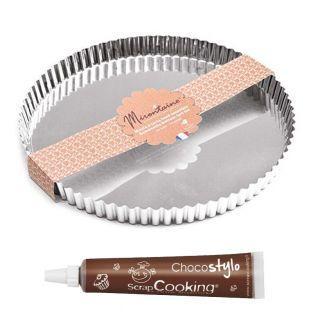 Moule à tarte en fer blanc Ø 30 cm +...