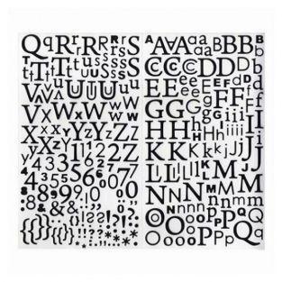 Alfabeto adhesivo con brillo negro