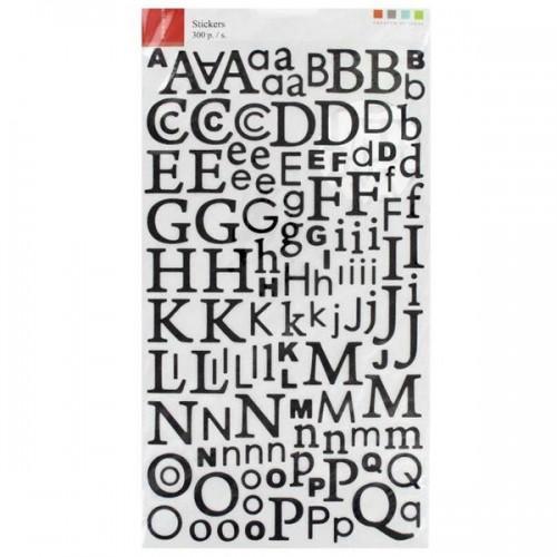 Alphabet autocollant paillettes noir