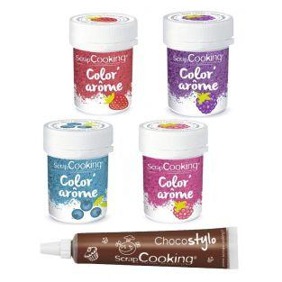4 Food Colourings with raspberry,...