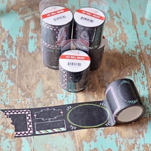 Washi Tape large - noir à motifs