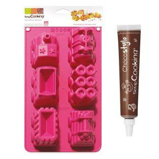 Train cake mould + Edible chocolate pen
