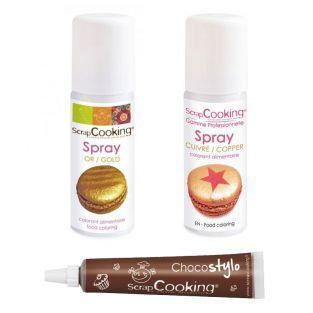 2 sprays alimentaires doré et cuivré...