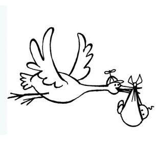 Wooden Stamp - Stork