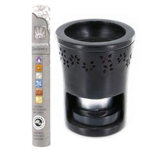 Brûle-parfum en pierre noire + 14...
