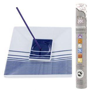 Porte-Encens carré à rayures bleues +...