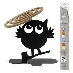 Spiral incense holder Black owl +...