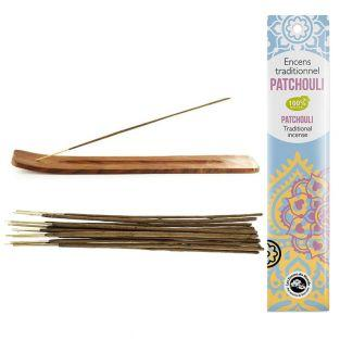 Wood incense holder + Patchouli...