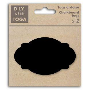 12 perforated slate labels - Oval