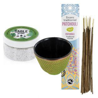 Green cast iron incense...