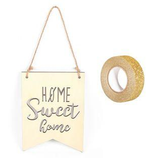 Wimpel aus Holz 20 x 15 cm Home Sweet...