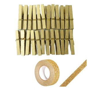 24 mini clothespins golden + Golden...