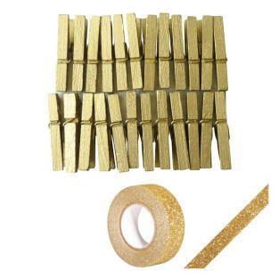 24 mini pinzas de madera doradas +...