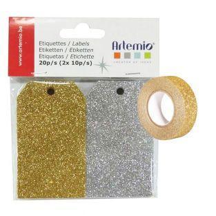 20 etiquetas con brillo plata & oro +...