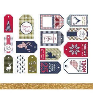 15 etiquetas de Navidad Escocés +...