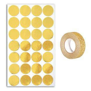 28 golden confetti stickers + Golden...