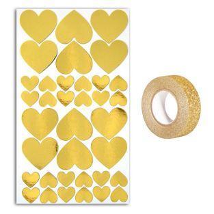 36 stickers cœurs dorés +...