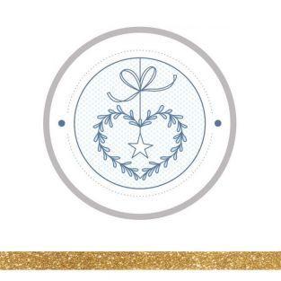 12 Aufkleber Weihnachten Ø 6,5 cm +...