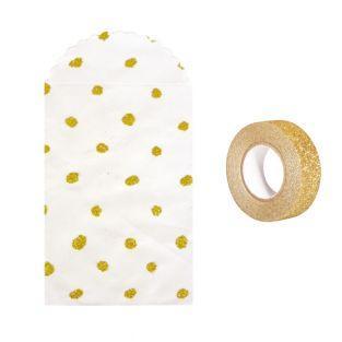 6 bolsitas de papel con brillo dorado...