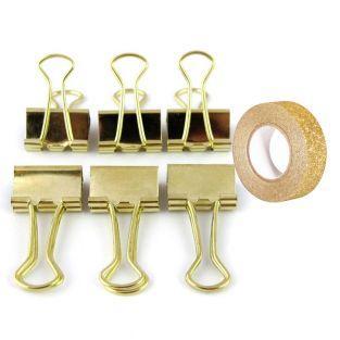 6 clips de papelería dorado + Masking...