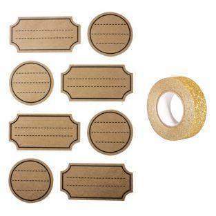 32 kraft stickers dots + Golden...