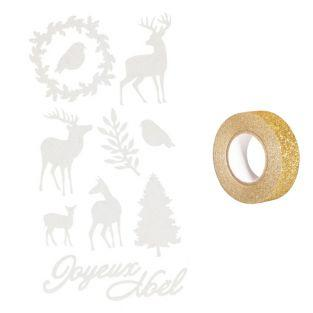 Flocked stickers Christmas deers...