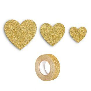 12 hearts with glitter golden +...