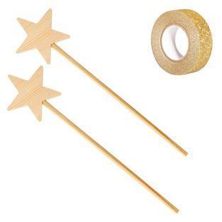 2 hölzerne Zauberstäbe 23 cm + Golden...