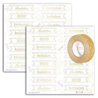 Goldene Aufkleber Einladung 15 x 15...