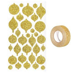 Christmas balls stickers with golden...