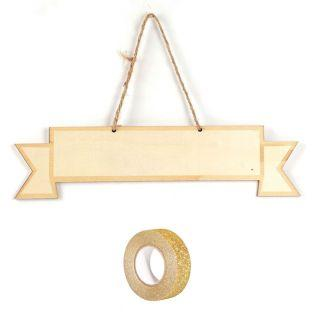 Wooden wall plate 33 x 8 cm Ribbon +...
