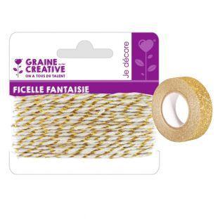Spago bianco-oro 10 m + washi tape...