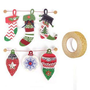 3D stickers Christmas boots 6,5 cm x...