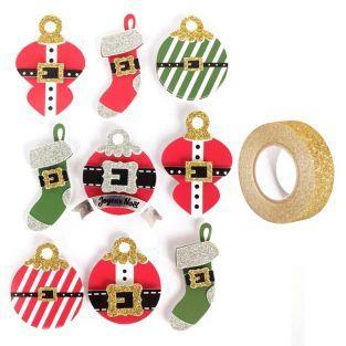 9 stickers 3D boules de Noël 5 cm +...